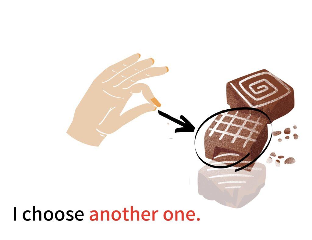 次に2つ目のチョコレートを取る場合:another one