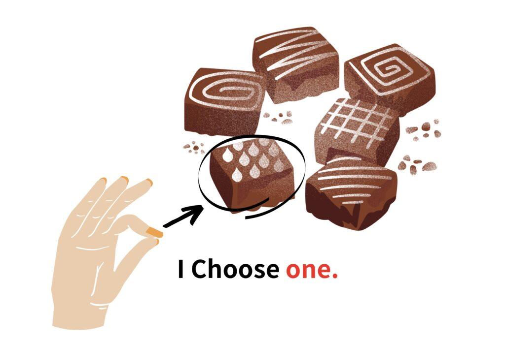 1つ目のチョコレートを取る場合:One